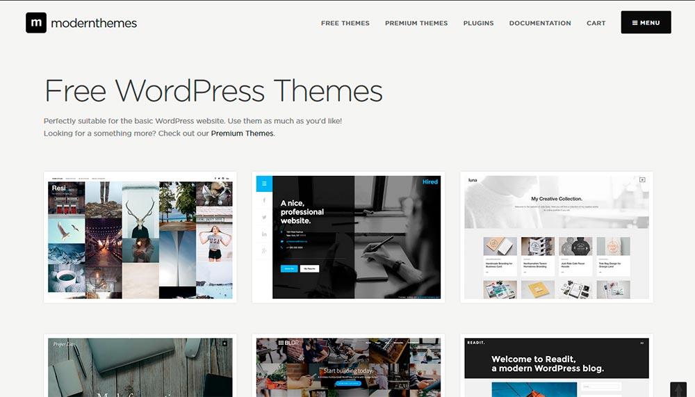 ModernThemes website con Temas gratuitos