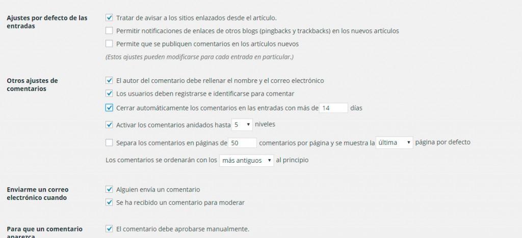 Captura pantalla comentarios en WordPress